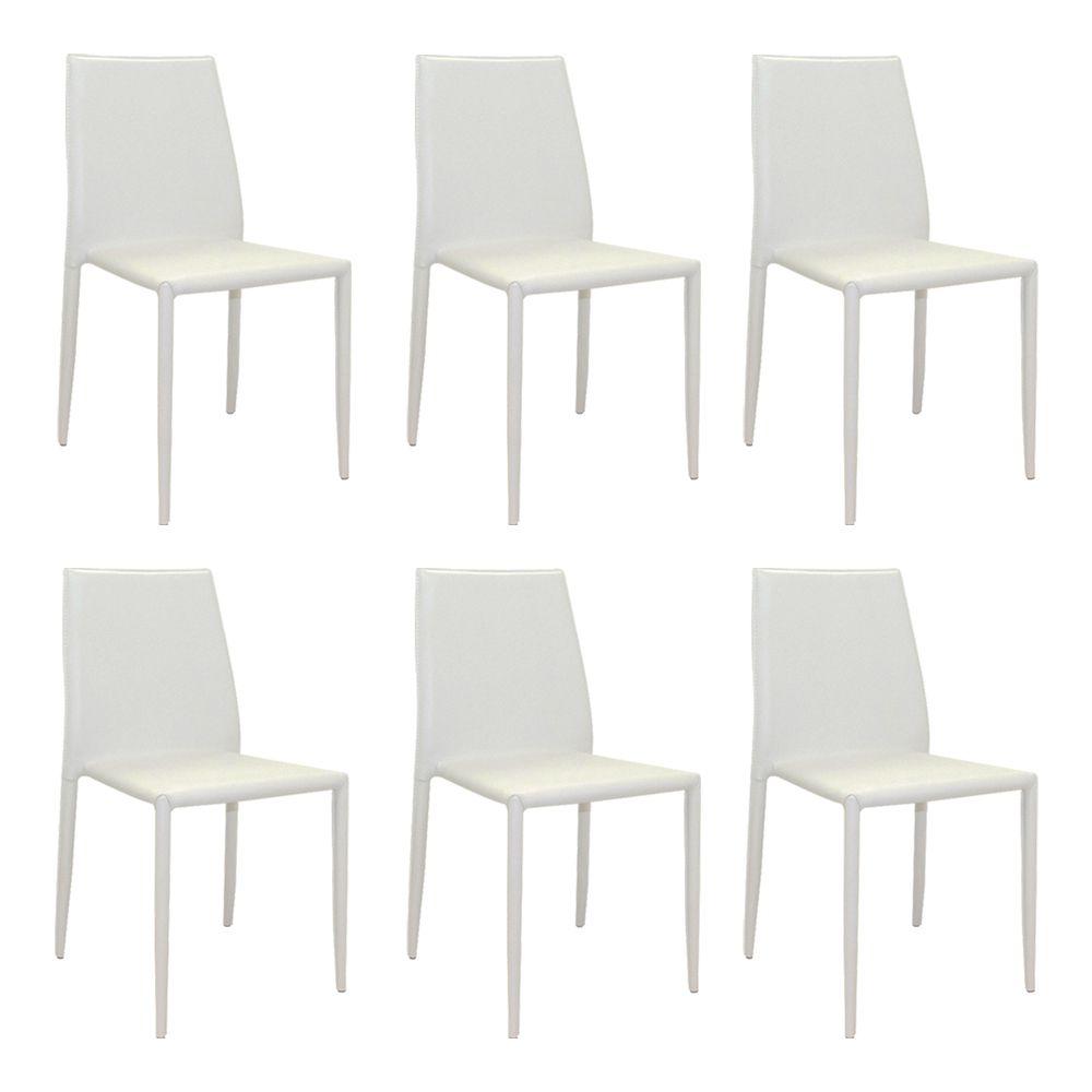 Kit 6 Cadeiras Decorativas Sala e Cozinha Karma PVC Branca - Gran Belo