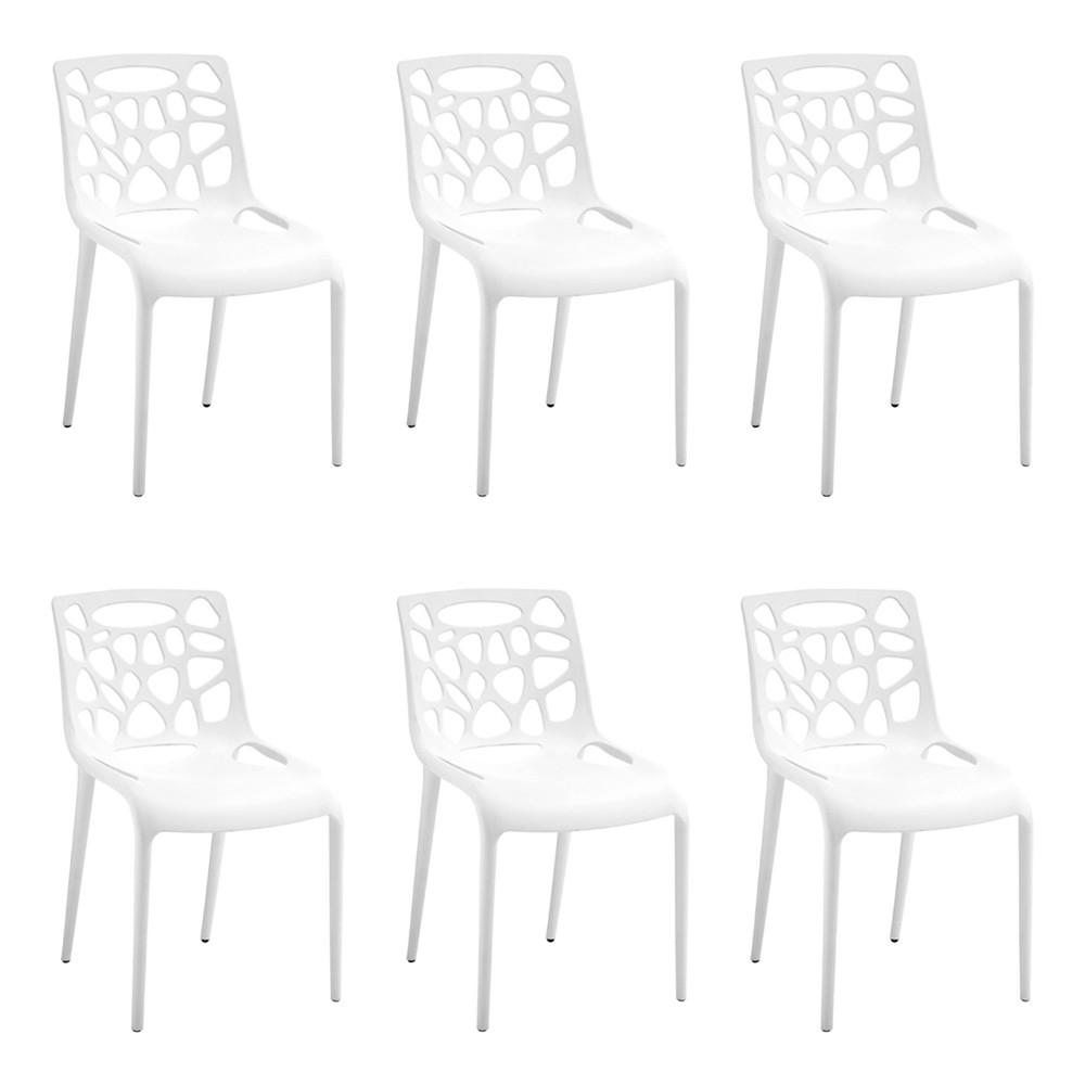 Kit 6 Cadeiras Decorativas Sala e Cozinha Lalunna (PP) Branco - Gran Belo