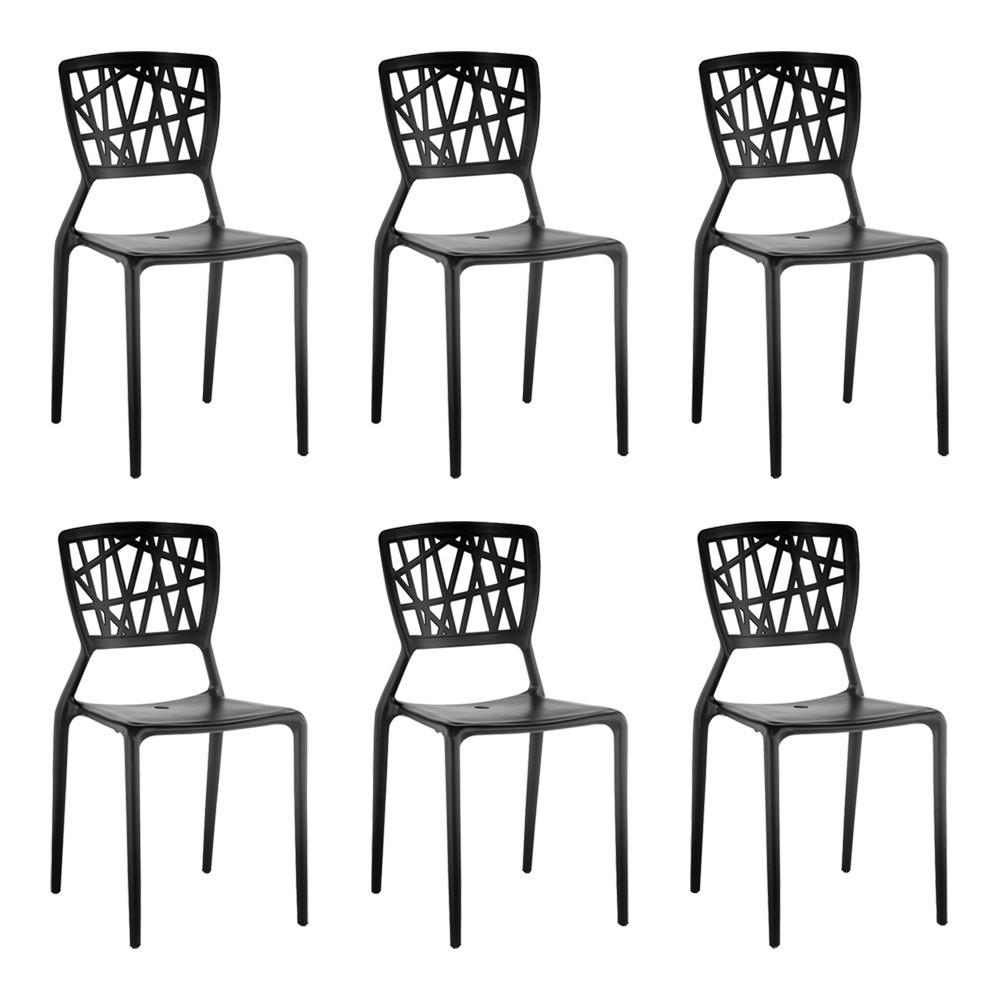 kit 6 Cadeiras Decorativas Sala e Cozinha Luara (PP) Preta - Gran Belo