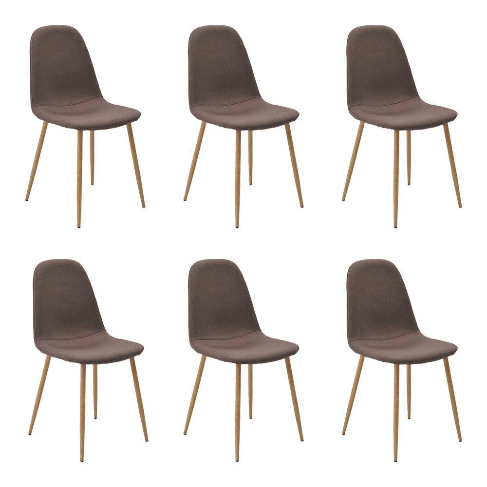 Kit 6 Cadeiras Decorativas Sala e Escritório Base Claro Emotion Marrom Linho - Gran Belo