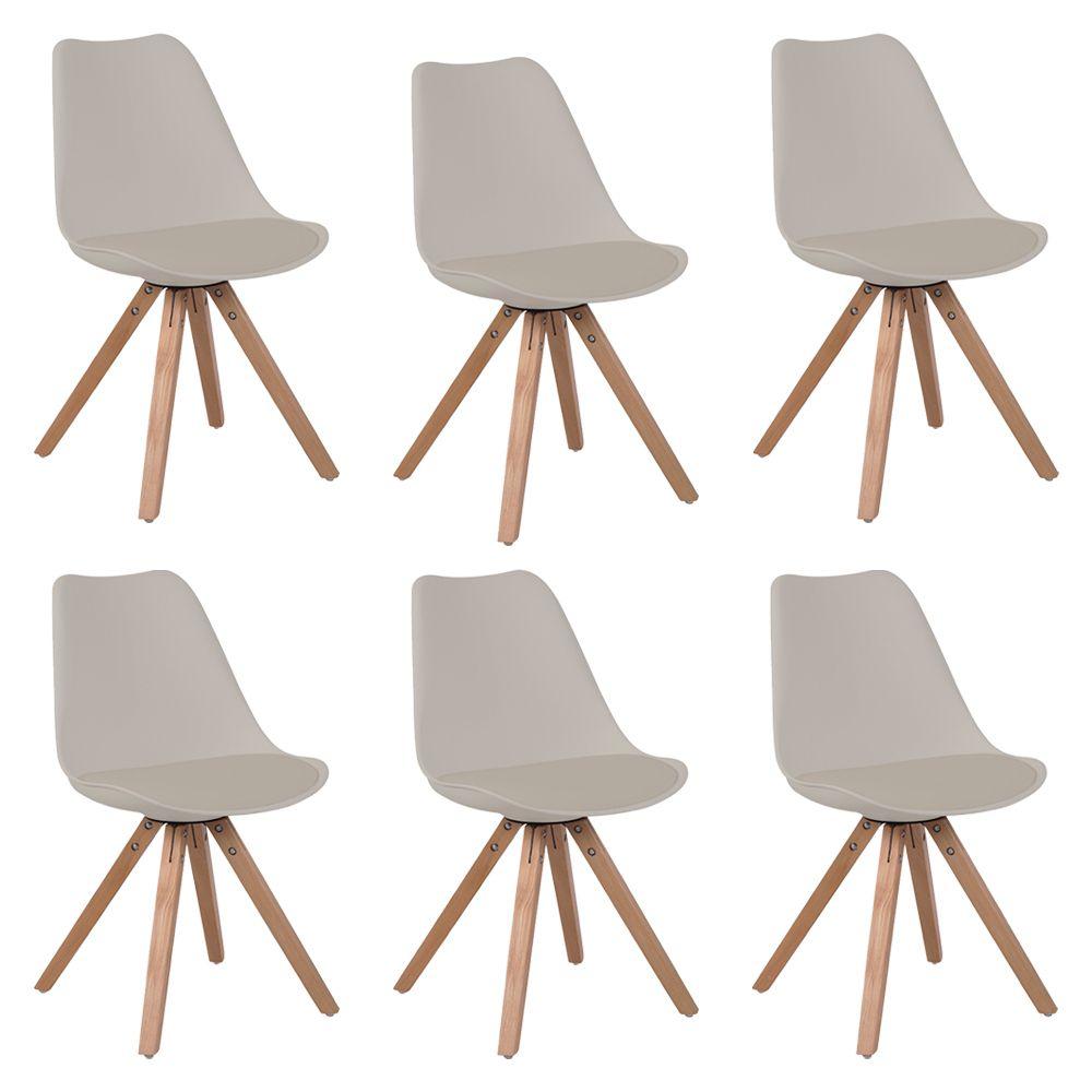 Kit 6 Cadeiras Decorativas Sala e Escritório Neo (PP) Nude – Gran Belo