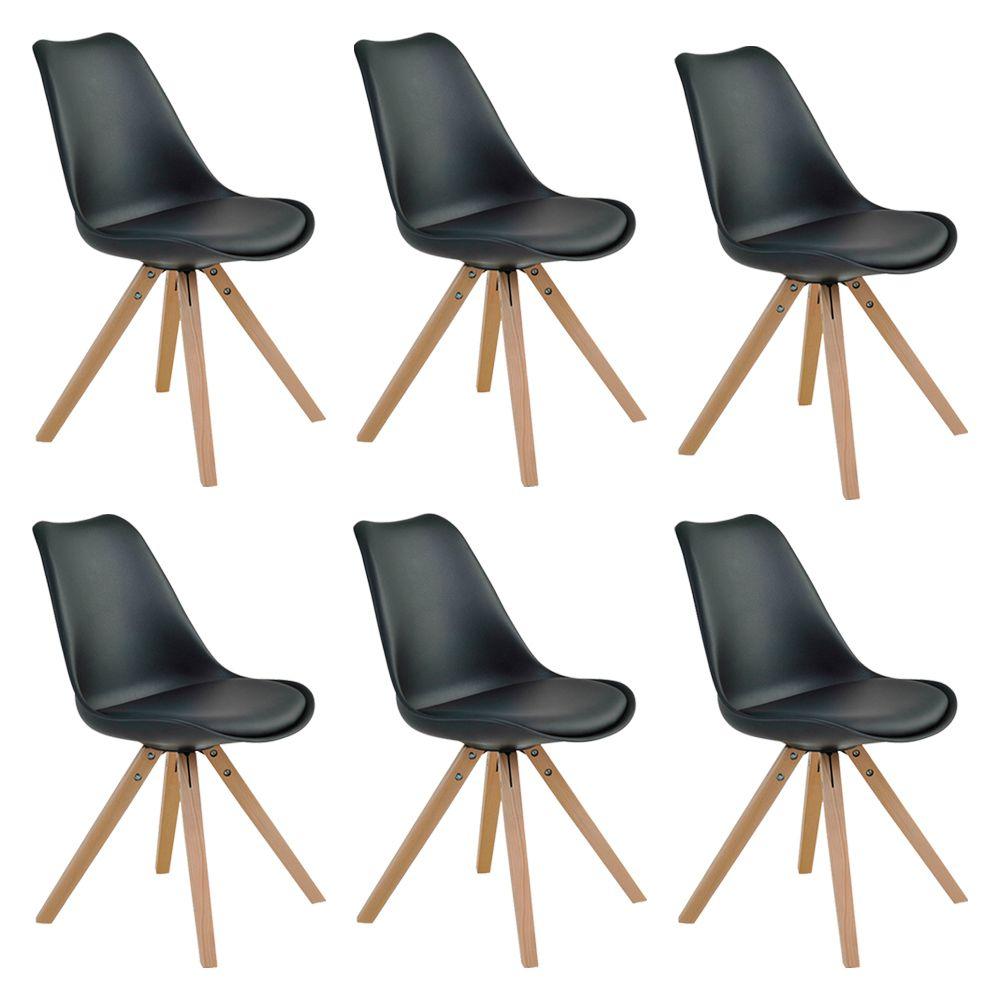 Kit 6 Cadeiras Decorativas Sala e Escritório Neo (PP) Preta– Gran Belo