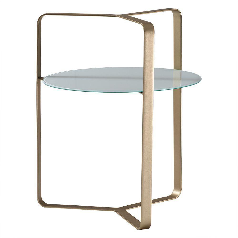 Mesa de Apoio Alça 50cm Aço Bronze/Vidro Branco - Gran Belo