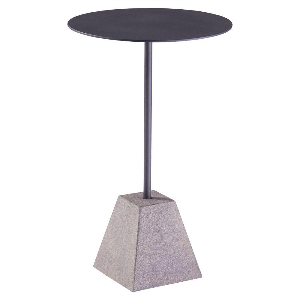 Mesa de Apoio Forma 40cm Aço Preto/Basalto Escovado - Gran Belo