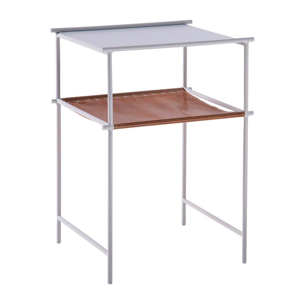 Mesa de Apoio Lateral Leather 45cm Aço Branco/Couro Caramelo - Gran Belo
