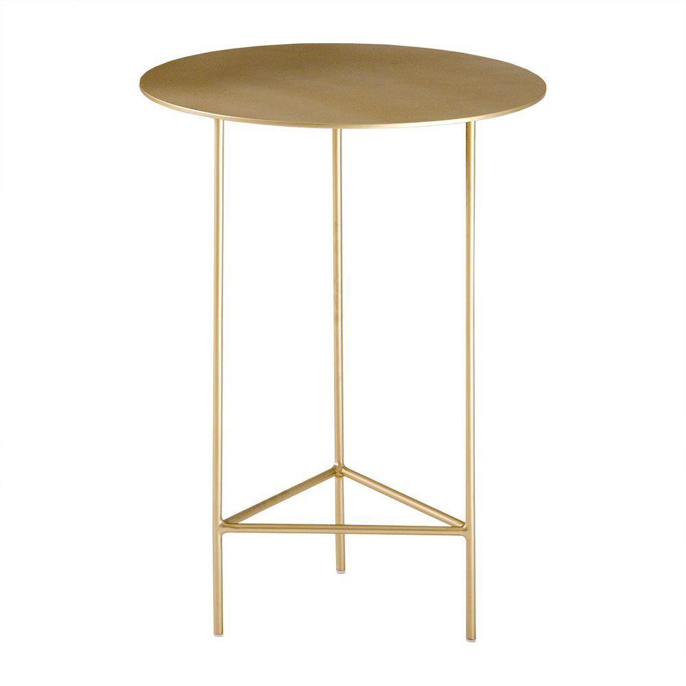 Mesa de Apoio Plate 40cm Baixa Aço Dourado - Gran Belo