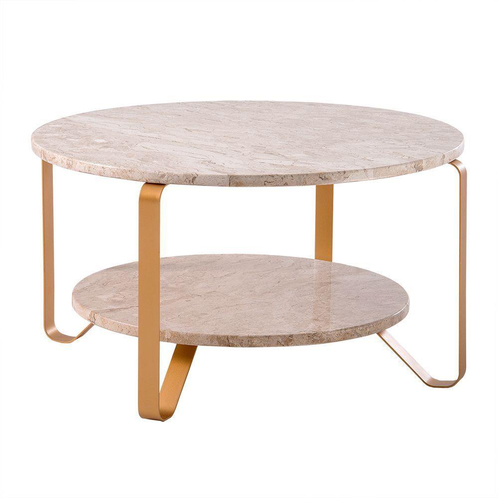 Mesa de Centro Alça 75cm Aço Dourado/Mármore Travertino Polido - Gran Belo