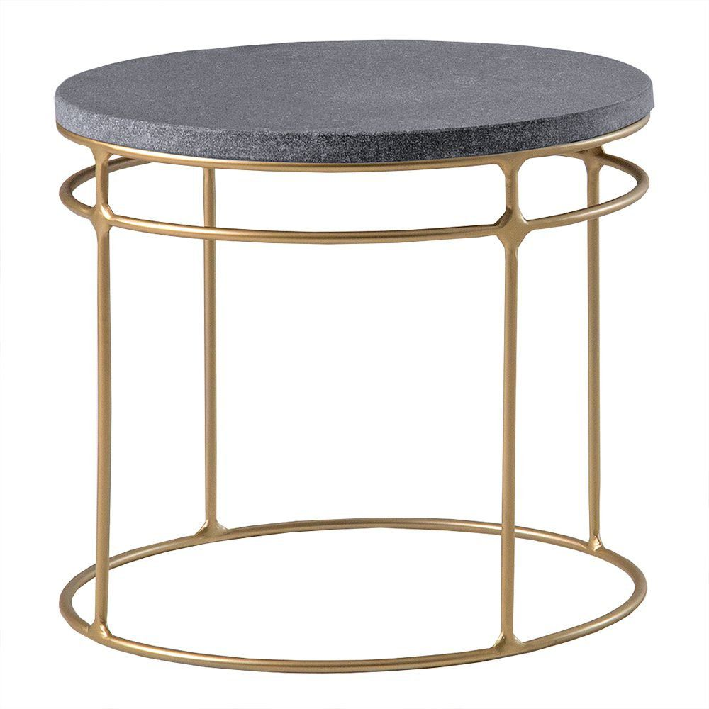Mesa de Centro Five 50cm Aço Bronze/Granito Preto Escovado - Gran Belo