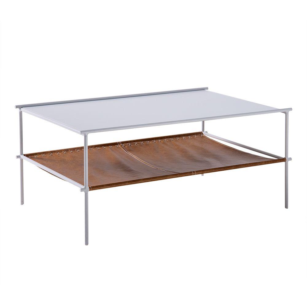 Mesa de Centro Leather 110cm Aço Branco/Couro Caramelo - Gran Belo