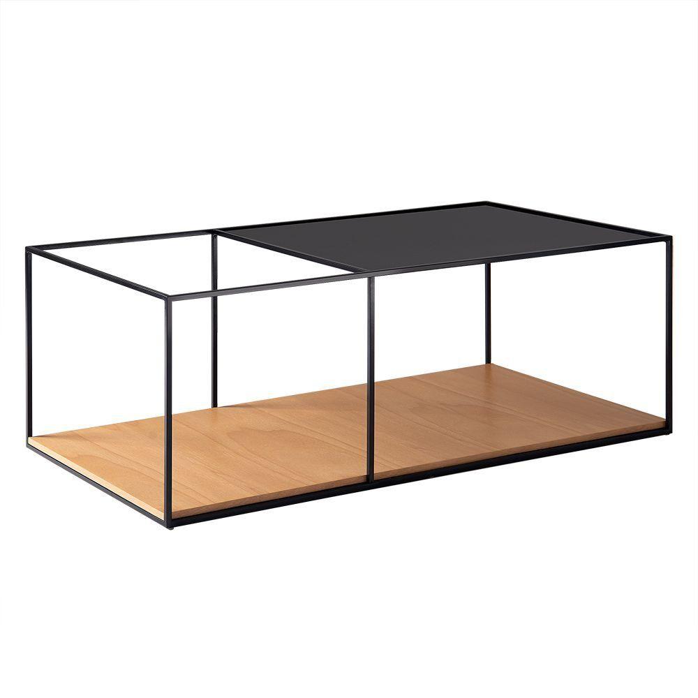 Mesa de Centro Square 100cm Aço Preto/Marfim - Gran Belo