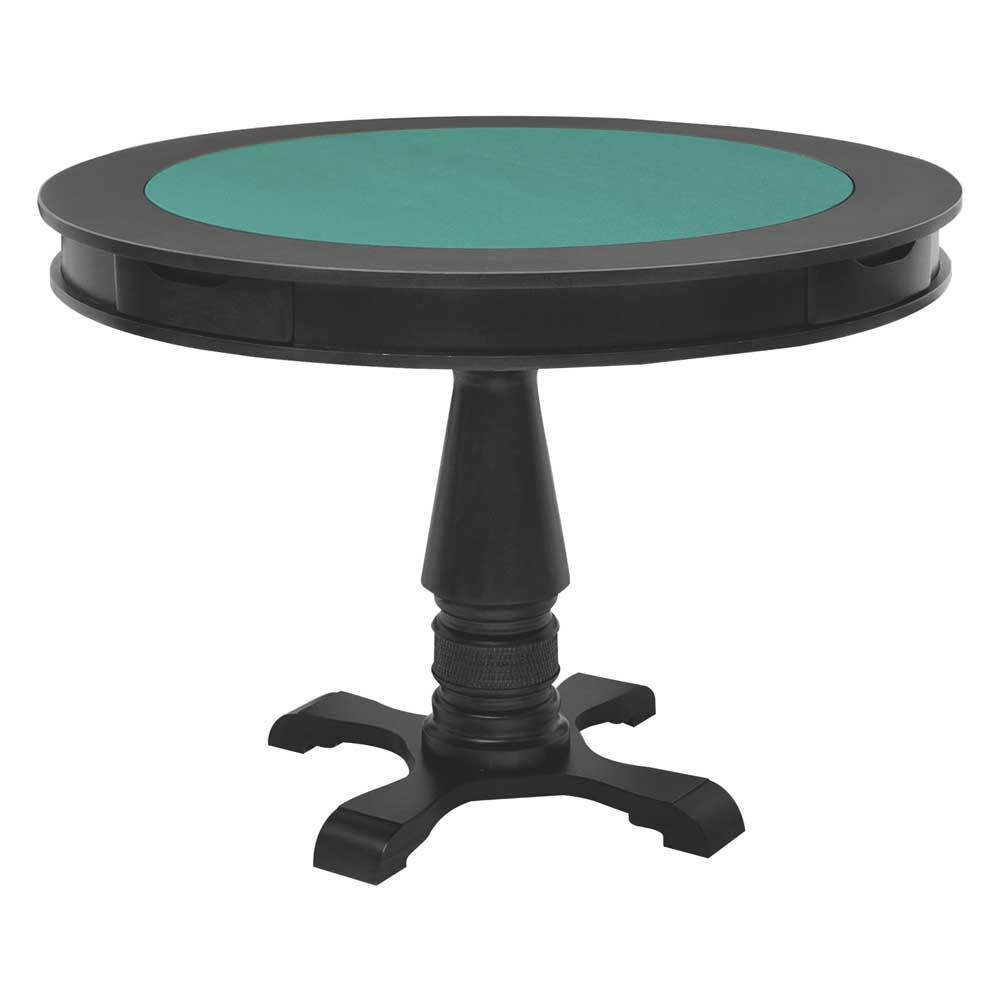Mesa de Jogos Carteado Victoria 4 Lugares Redonda Tampo Reversível com Gavetas e Porta Copos Preto Fosco - Gran Belo