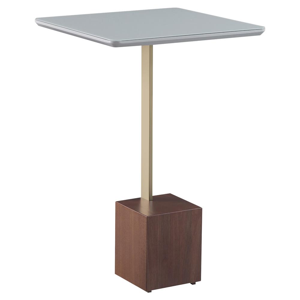 Mesa Lateral Decorativa Para Sala de Estar Goagil 40x40 Tampo Off White Base Amêndoa Metal Dourado - Gran Belo
