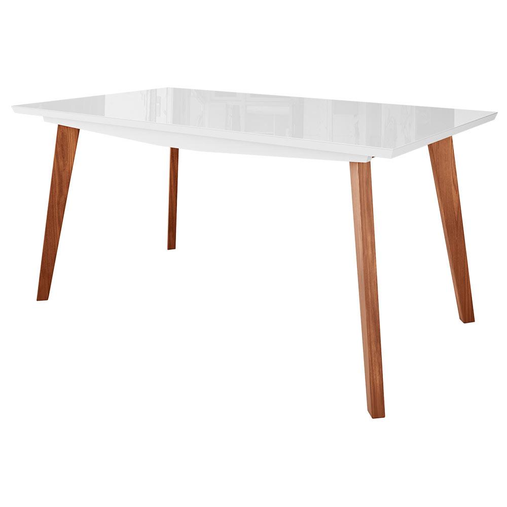 Mesa de Jantar Cozinha Maldini 200cm com Tampo de Vidro Branco/Imbuía - Gran Belo