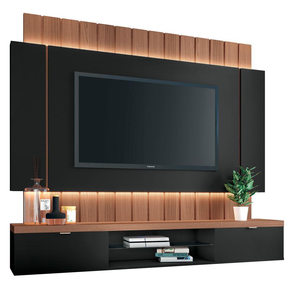 """Painel Home Suspenso para TV até 55"""" Sala de Estar Shawn Preto/Nature - Gran Belo"""