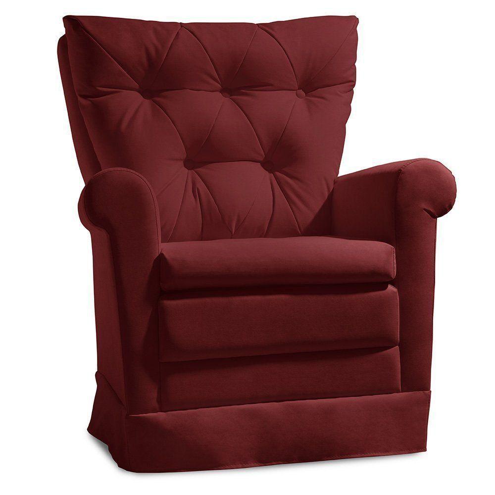 Poltrona de Amamentação Confort Suede Animale Vermelho - Gran Belo