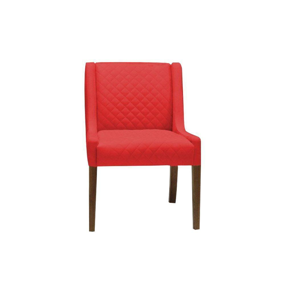 Poltrona Decorativa Antônia Tressê Suede Vermelho - Gran Belo