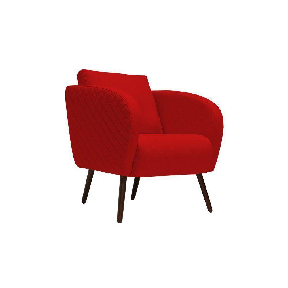 Poltrona Decorativa Dama Pés Palito Suede Vermelho - Gran Belo