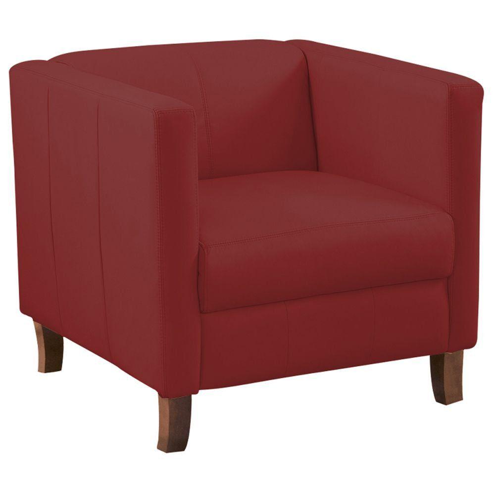 Poltrona Decorativa Ellus Couro Vermelho - Gran Belo