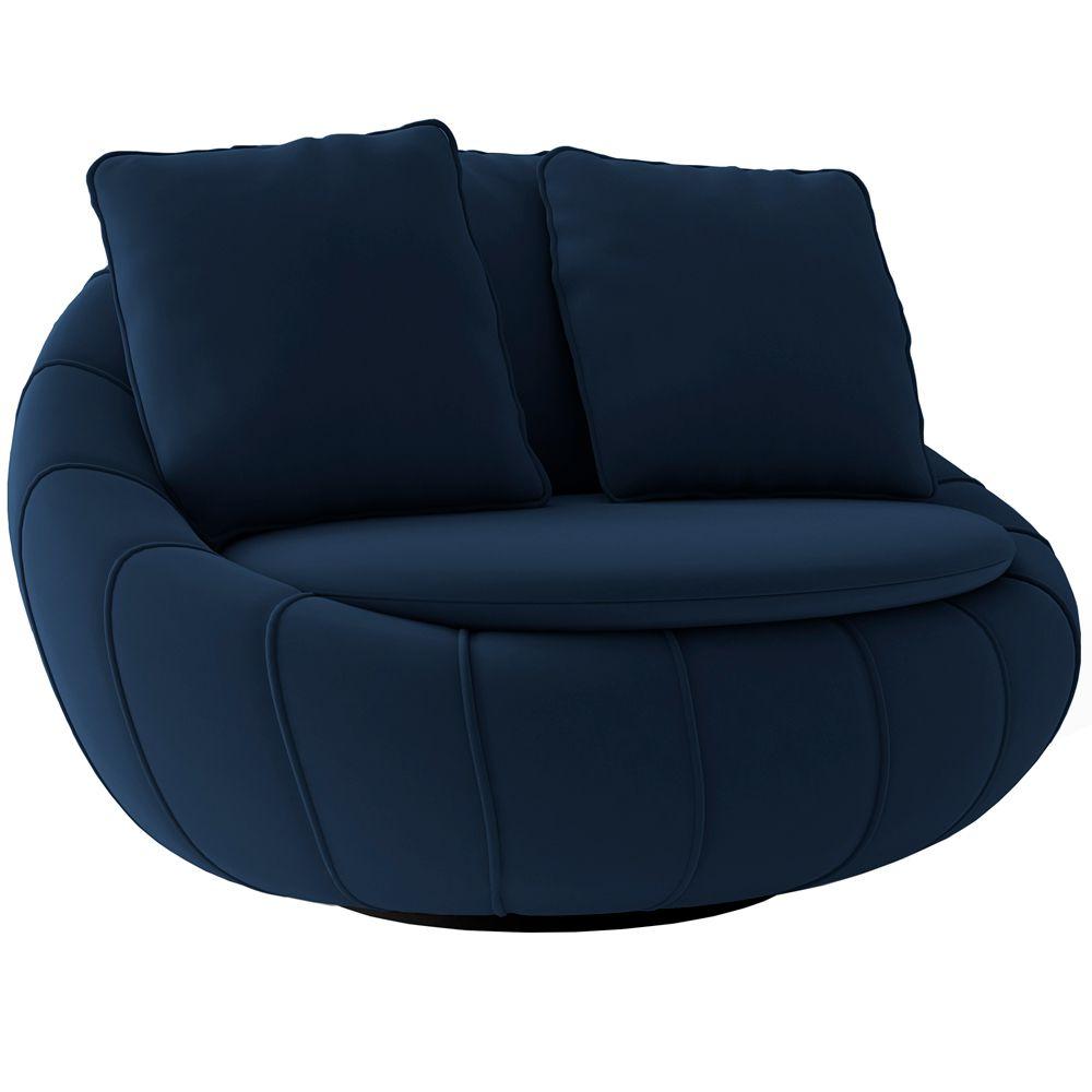 Poltrona Decorativa Giratória Sala de Estar Afrodite Veludo Azul Marinho - Gran Belo