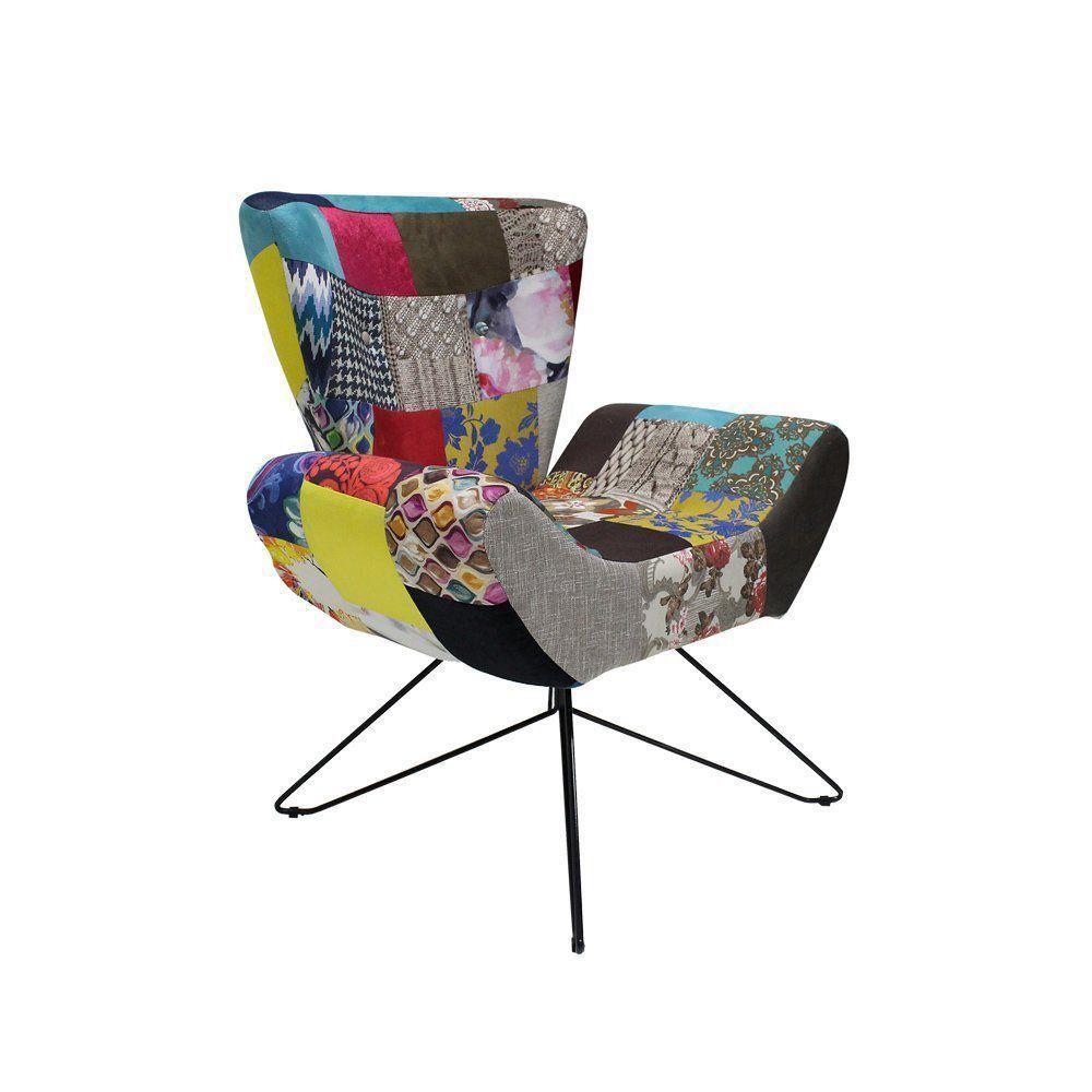 Poltrona Decorativa Silhueta Orby Fixa Patchwork Colorido - Gran Belo