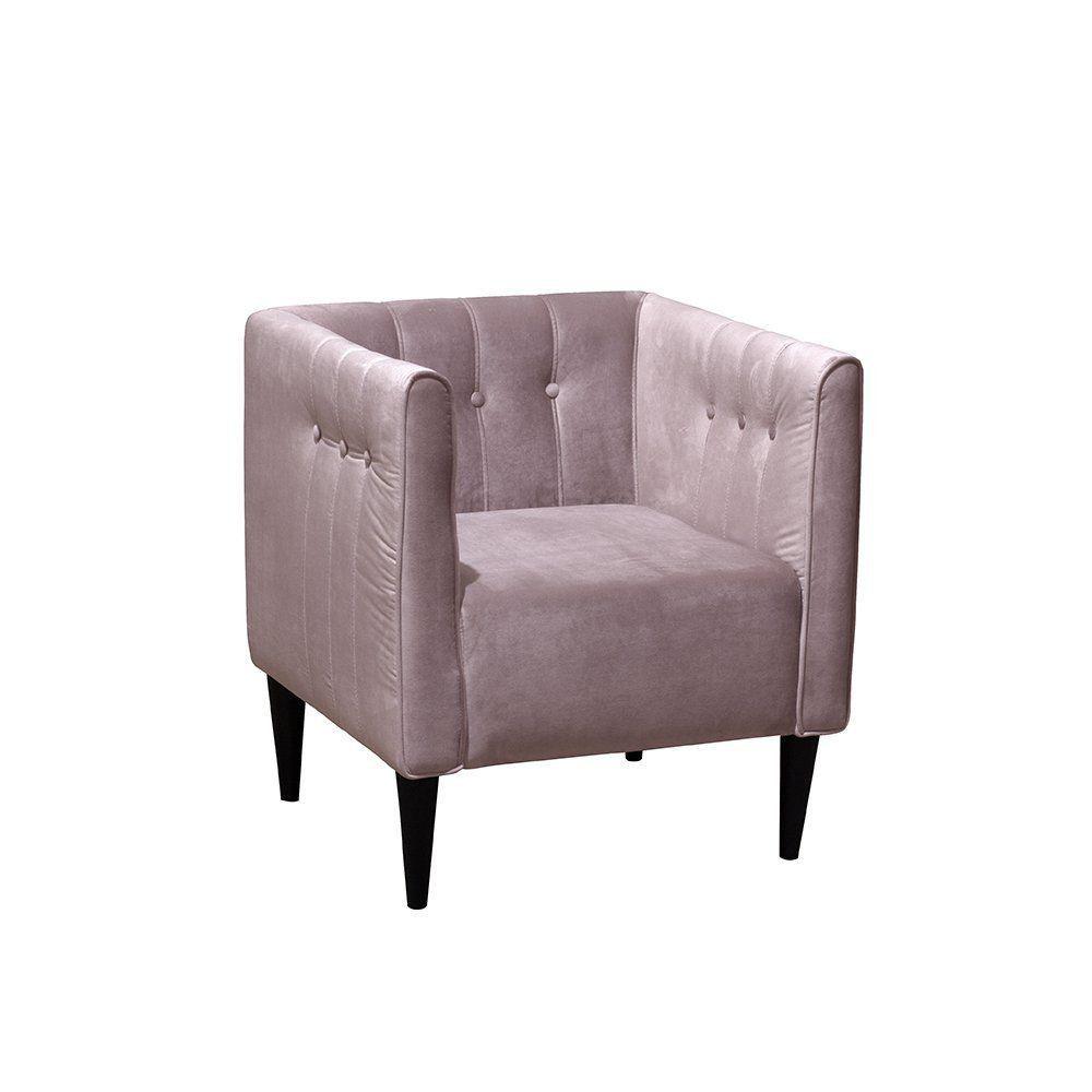Poltrona Decorativa Una C/Pés Cone Veludo Rosê - Gran Belo