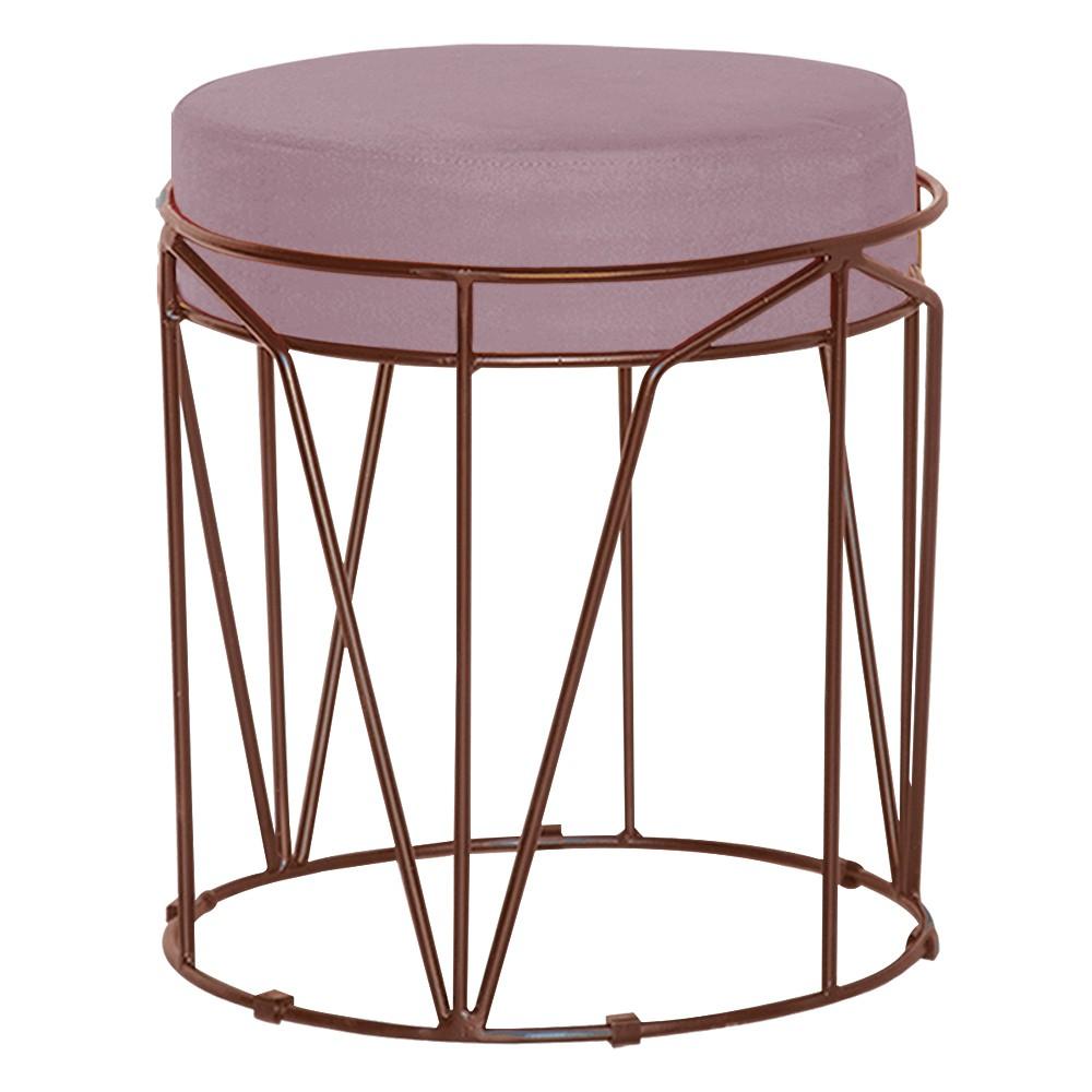 Puff Decorativo Sala de Estar Base Bronze Chloe Veludo Rosê - Gran Belo
