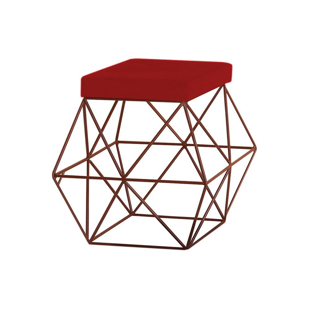 Puff Decorativo Sala de Estar Base Bronze Trixie Veludo Vermelho - Gran Belo