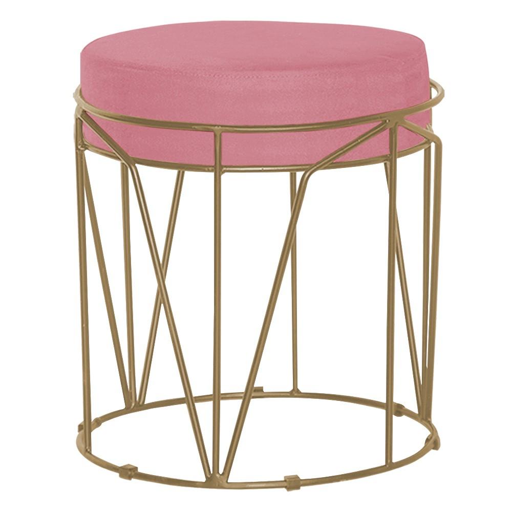 Puff Decorativo Sala de Estar Base Gold Chloe Suede Rosa - Gran Belo