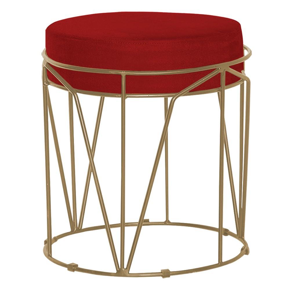 Puff Decorativo Sala de Estar Base Gold Chloe Veludo Vermelho - Gran Belo