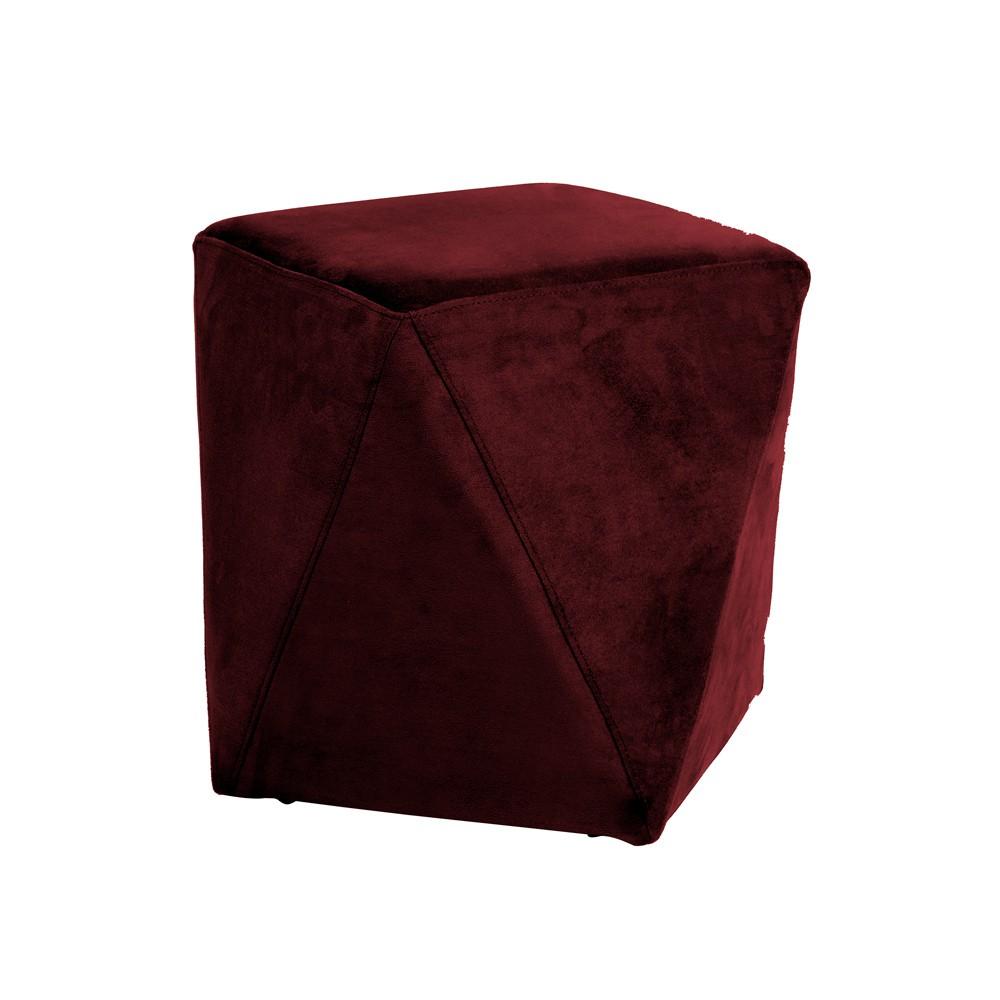 Puff Decorativo Sala de Estar Blois Veludo Vinho - Gran Belo