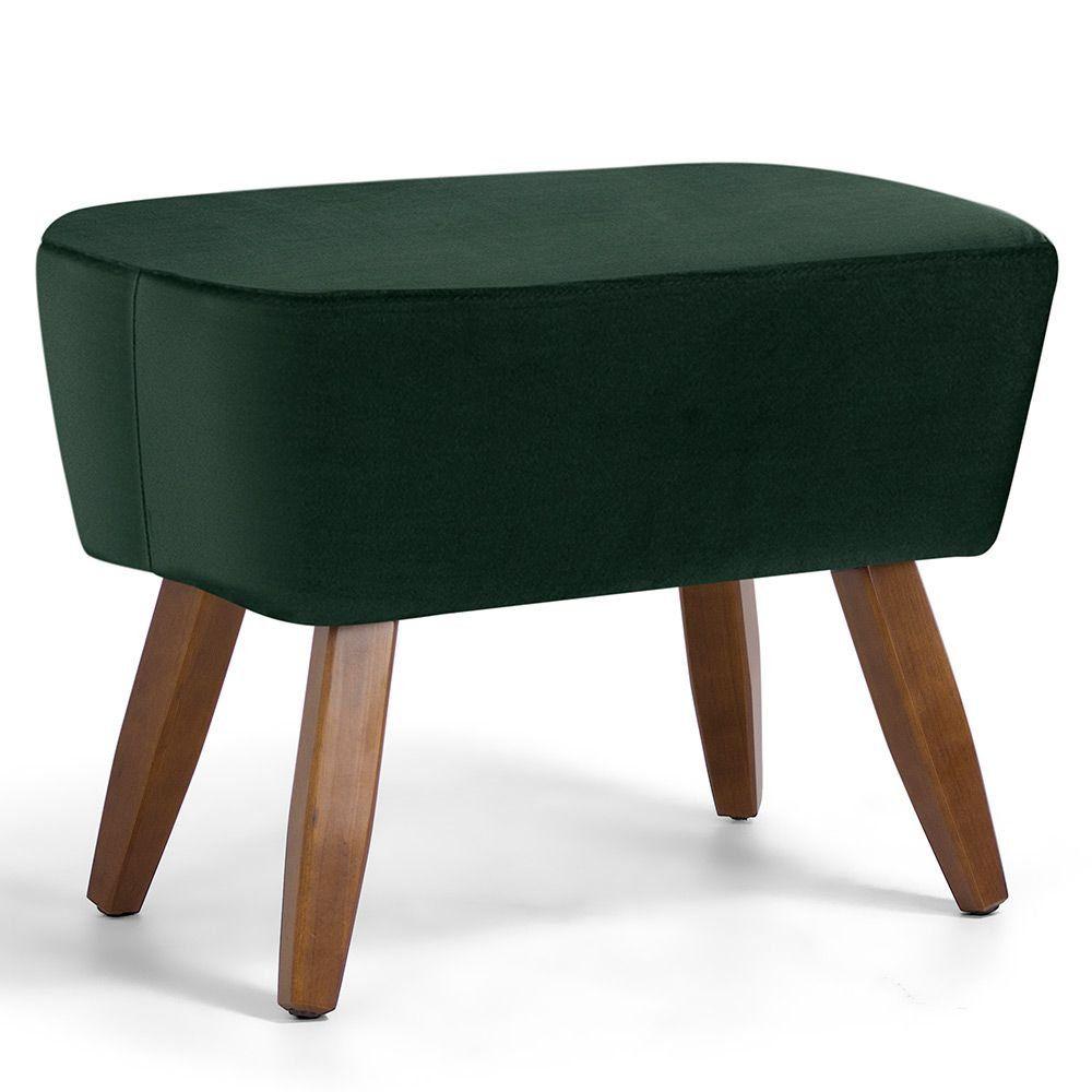 Puff Decorativo Sala de Estar Pés de Madeira Naomi Veludo Verde - Gran Belo
