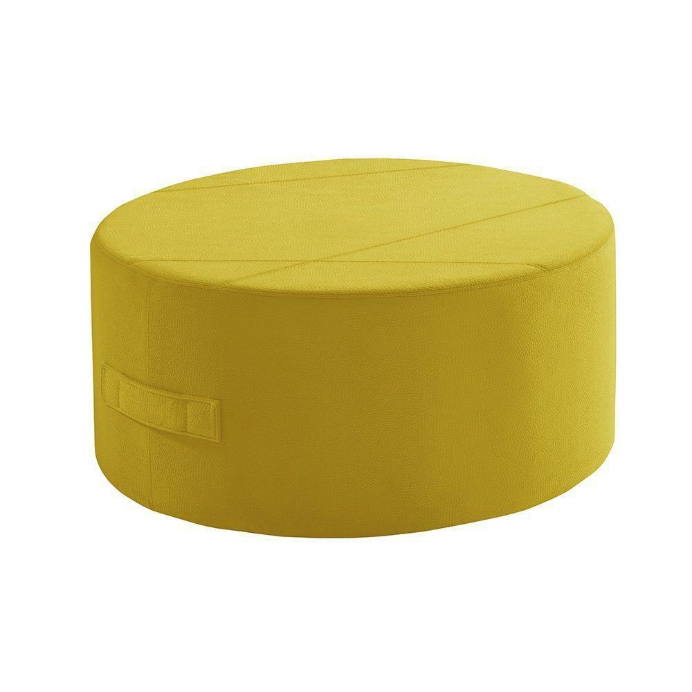 Puff Redondo IB299 80cm Suede Animale Amarelo - Gran Belo