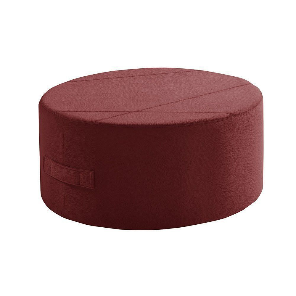 Puff Redondo IB299 80cm Suede Animale Vermelho - Gran Belo