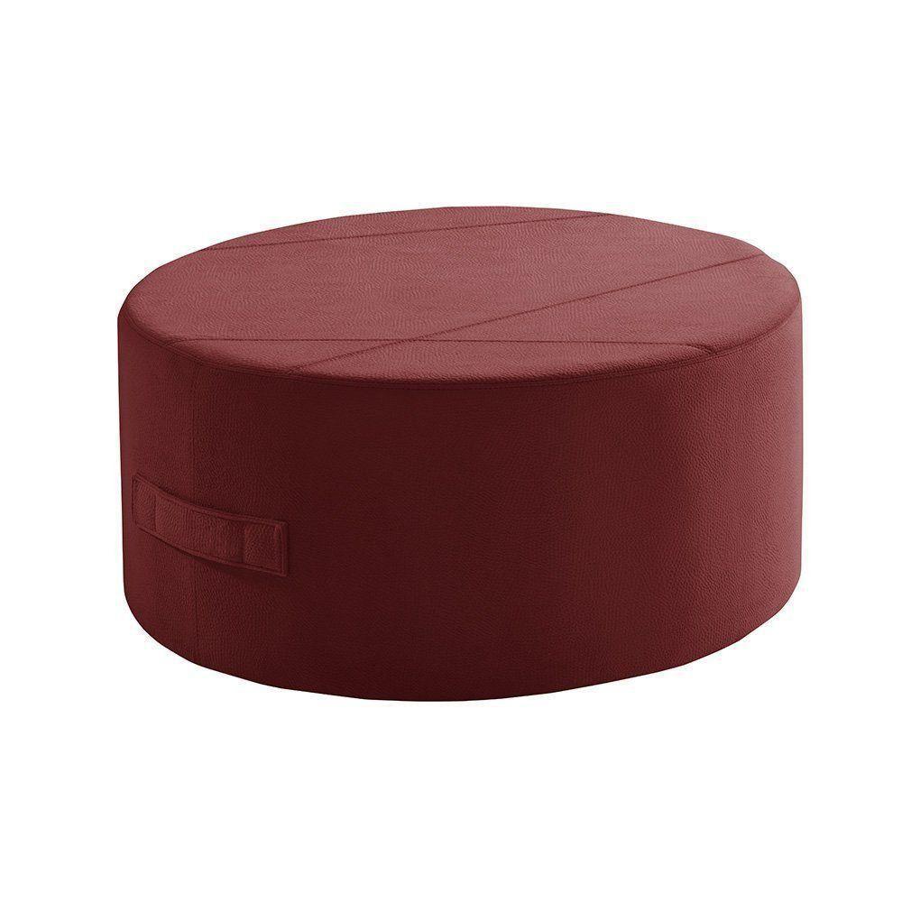 Puff Redondo IB299 90cm Suede Animale Vermelho - Gran Belo