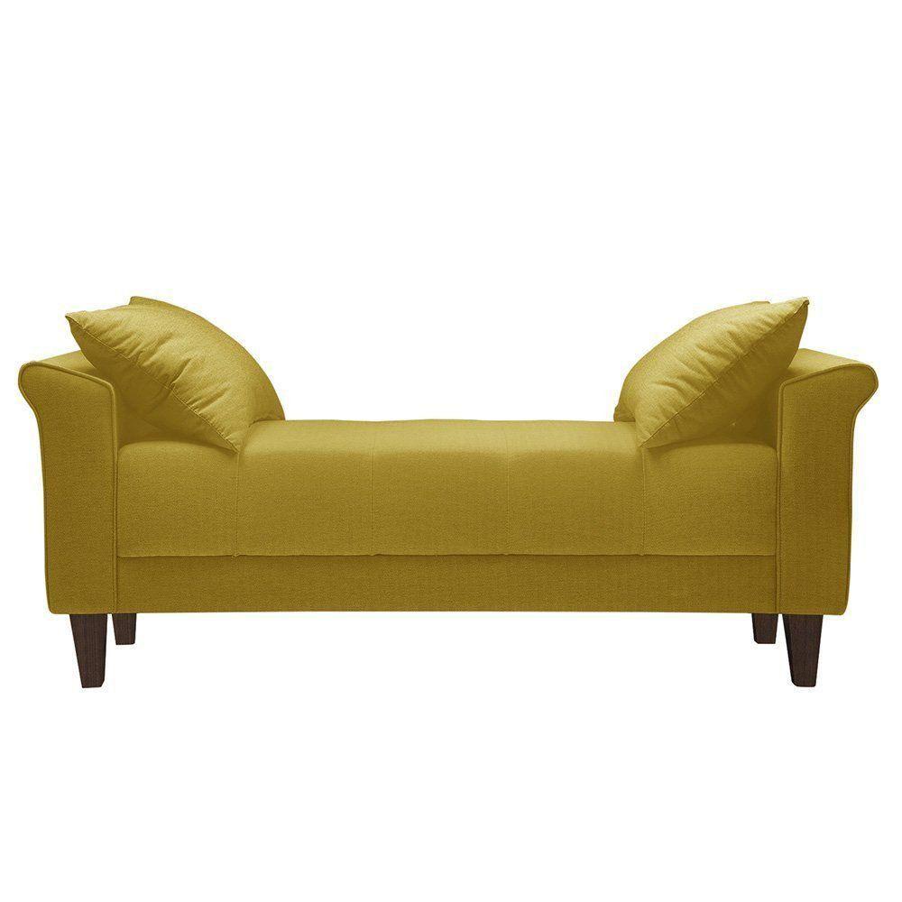 Recamier 160cm Suede Animale Amarelo - Gran Belo