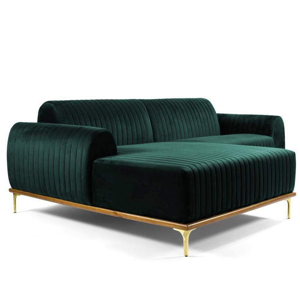 Sofá 3 Lugares com Chaise Base de Madeira Euro 230 cm Veludo Verde - Gran Belo