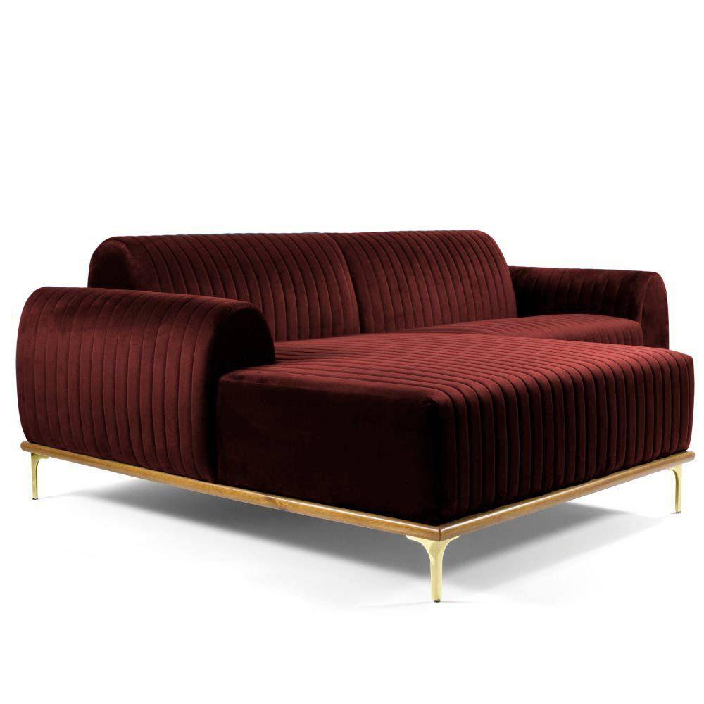 Sofá 3 Lugares com Chaise Base de Madeira Euro 230 cm Veludo Vinho - Gran Belo
