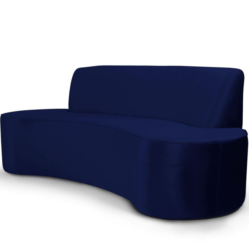 Sofá 3 Lugares Sala de Estar 210 cm Bélgica Veludo Azul Marinho - Gran Belo