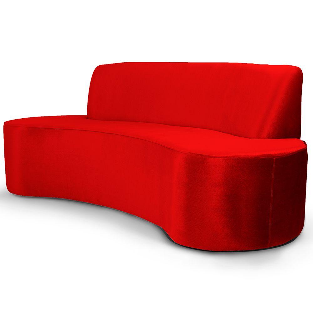 Sofá 3 Lugares Sala de Estar 230 cm Bélgica Veludo Vermelho - Gran Belo