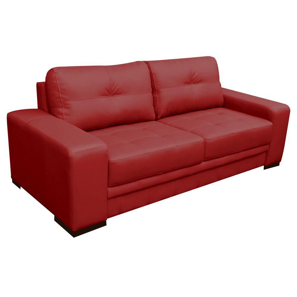 Sofá 3 Lugares Sala de Estar Milano 210cm Couro Vermelho - Gran Belo