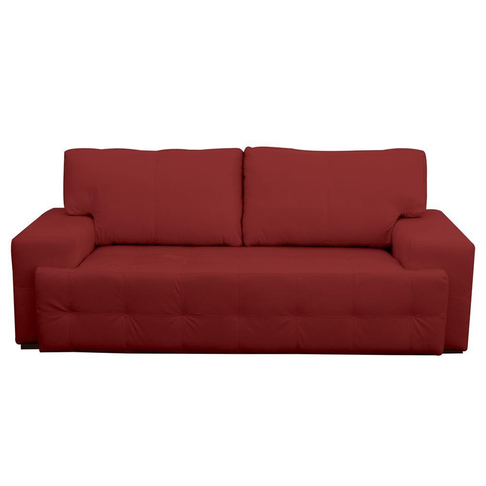 Sofá 3 Lugares Sala de Estar Roma 230 cm Couro Vermelho - Gran Belo