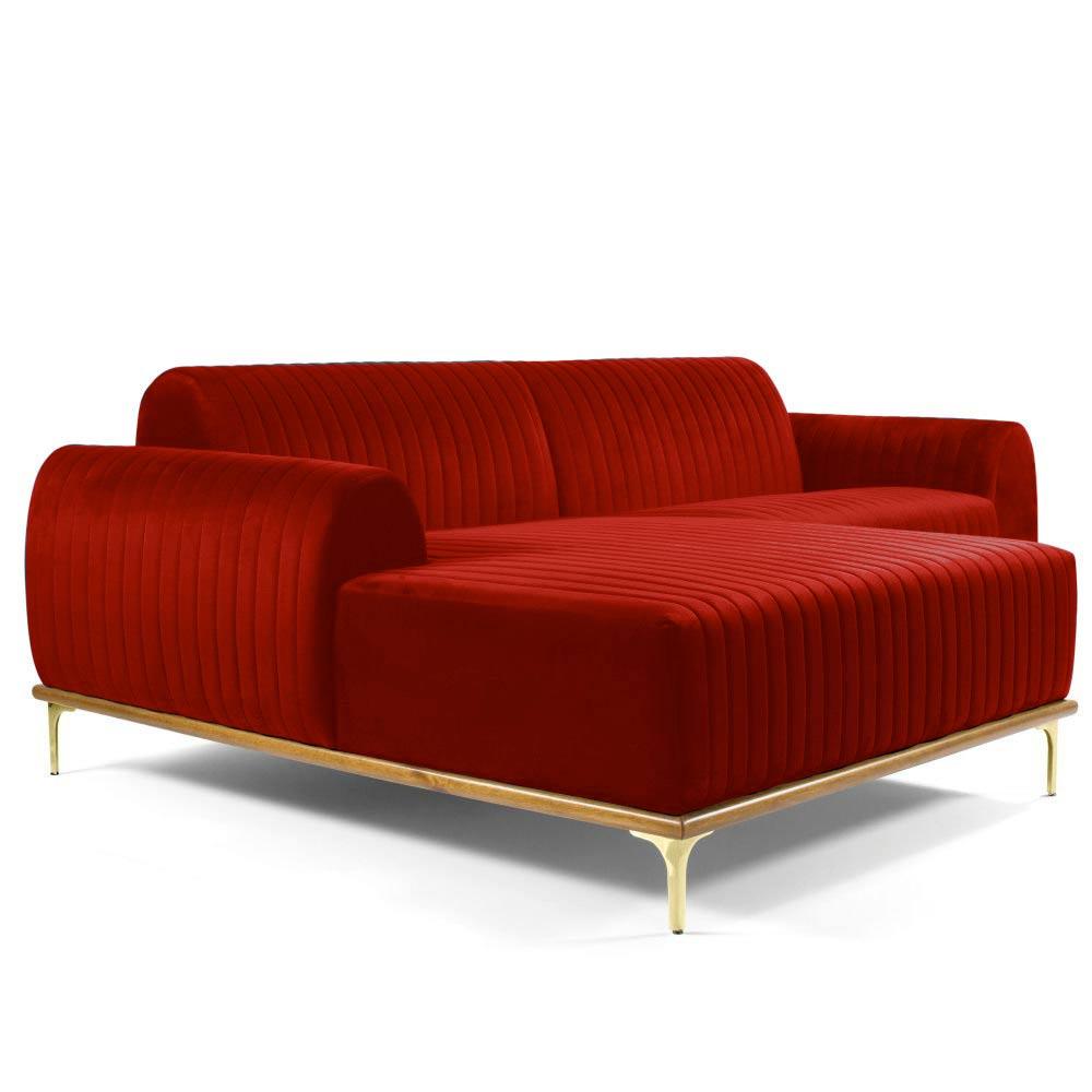 Sofá 4 Lugares com Chaise Base de Madeira Euro 255 cm Veludo Vermelho - Gran Belo