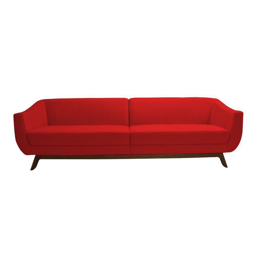 Sofá Boomer 210cm Suede Vermelho - Gran Belo