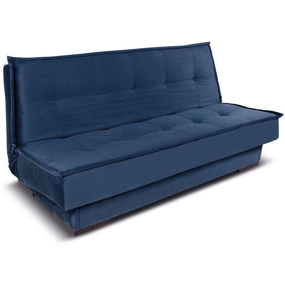 Sofá Cama 2 Lugares Brianza Reclinável Veludo Azul - Gran Belo