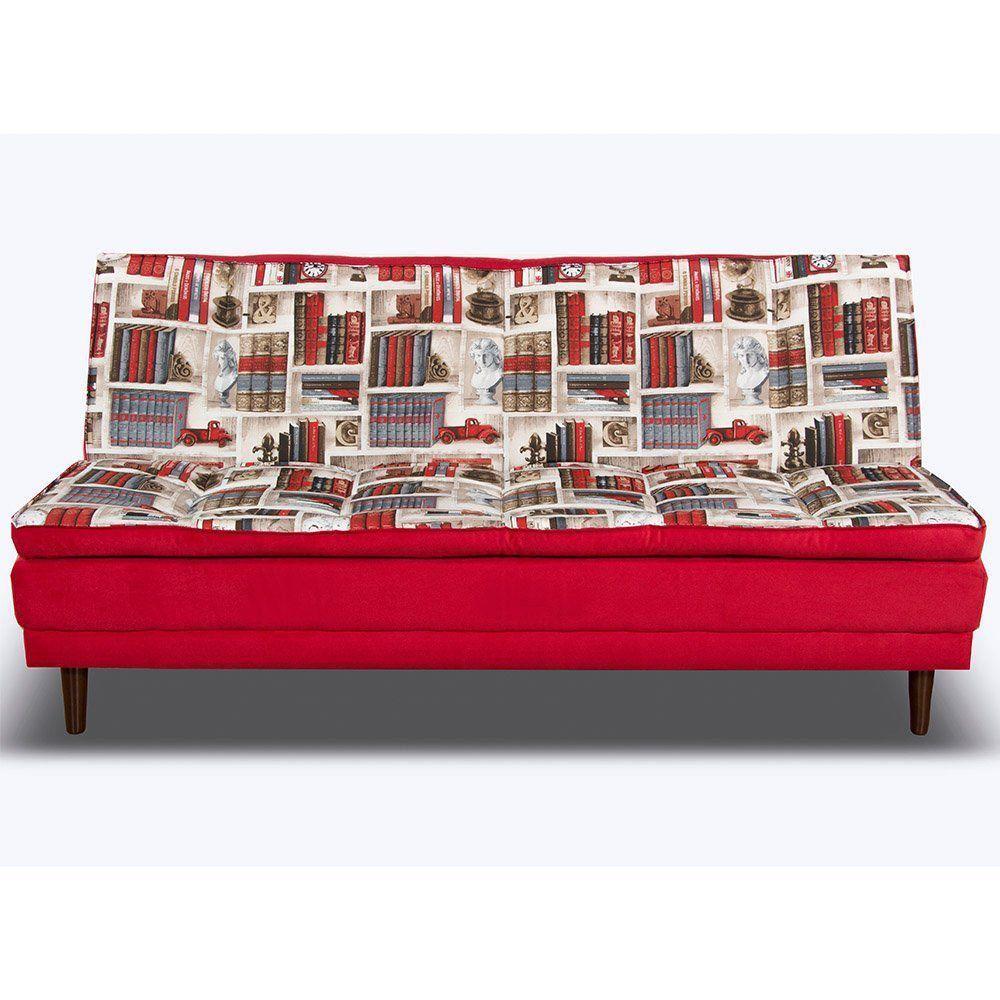 Sofá Cama 2 Lugares Dallas Reclinável Estampado Livros/Vermelho - Gran Belo