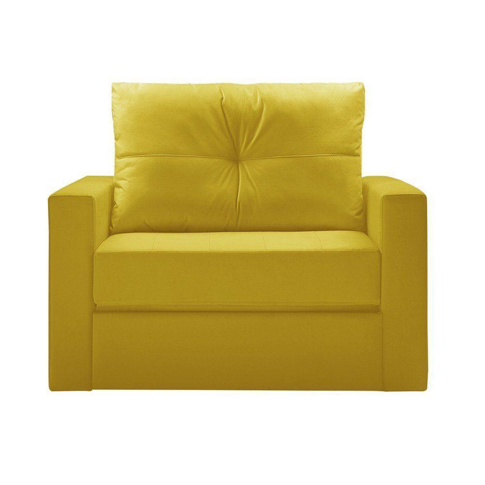 Sofá Cama Multi 1 Lugar 118cm Retrátil Suede Animale Amarelo - Gran Belo