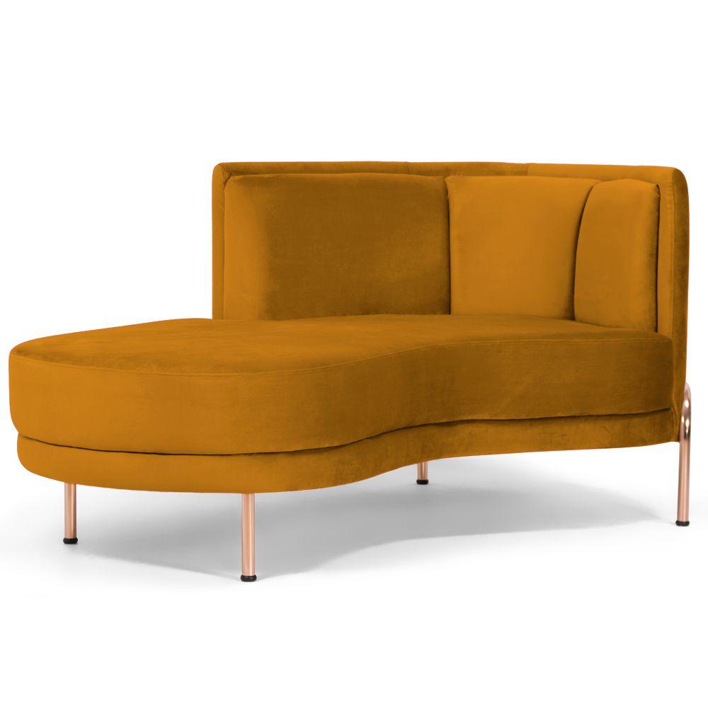 Sofá Chaise Longue Para Sala de Estar Ferrara Veludo Mostarda - Gran Belo