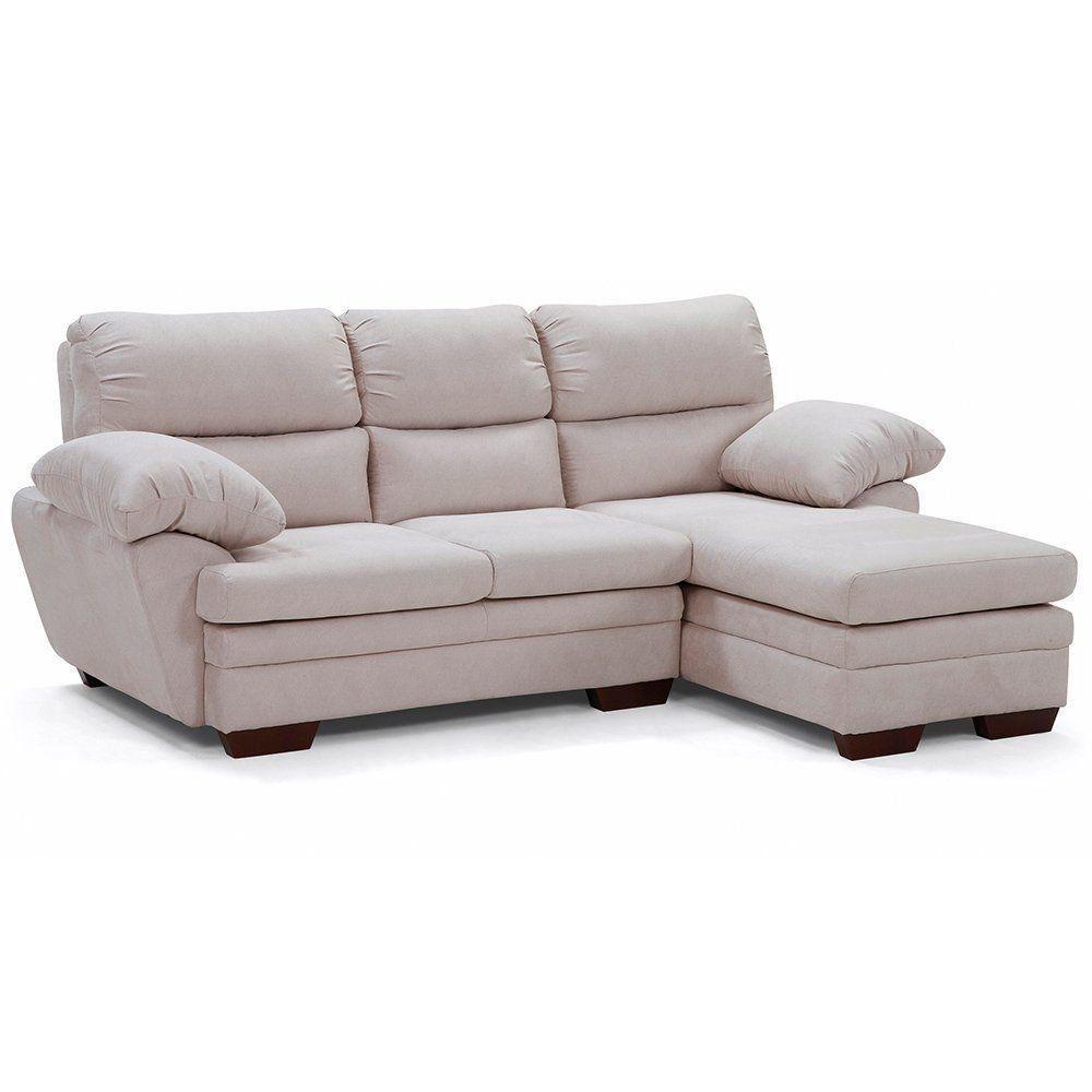 Sofá com Chaise 3 Lugares Belmont Sintético Nude - Gran Belo