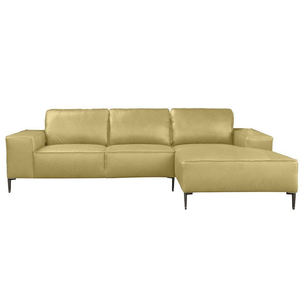 Sofá com Chaise Dili 3 Lugares Couro Bege - Gran Belo