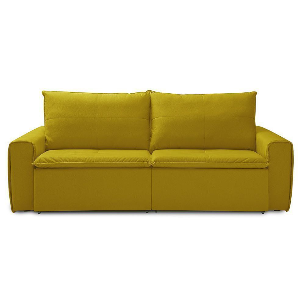 Sofá Retrátil 3 Lugares Capricho 250cm Suede Animale Amarelo - Gran Belo